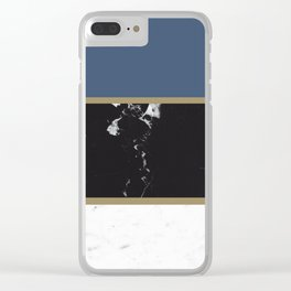 Marble Mix Stripes #3 #black #white #blue #gold #decor #art #society6 Clear iPhone Case