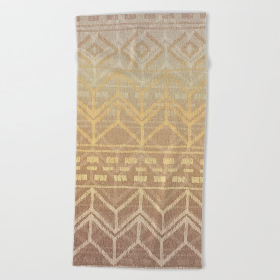 Neutral Tan & Gold Tribal Ikat Pattern Beach Towel