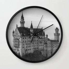 Black and White Neuschwanstein Castle Wall Clock