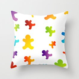 Colorful Christmas gingerbread cookies Throw Pillow