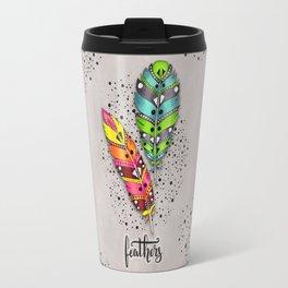 Two bright tribal feathers Travel Mug