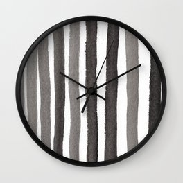 Grey Stripe Abstract Painting Wall Clock