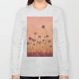 Dreamy Violet Dandelion Flower Garden Long Sleeve T-shirt