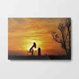 Kansas Sunset with a colorful Sky and Oilwell Pump Silhouette. Metal Print