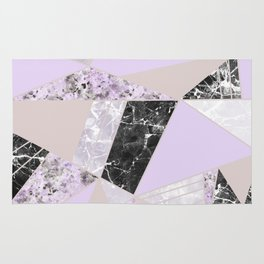 Geometrical black white lavender abstract marble Rug
