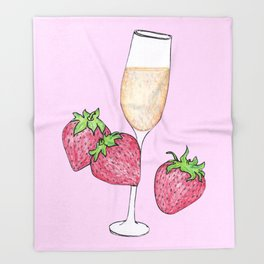 Champagne and Strawberries! Throw Blanket