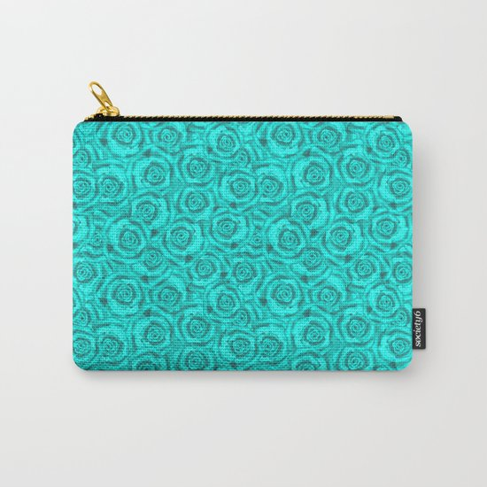 Roses . Neon turquoise . Carry-All Pouch