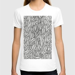Black and White Botanical Leaf Print with Stick and Poke Style T-shirt