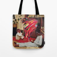 tv Tote Bags featuring Television by Lerson