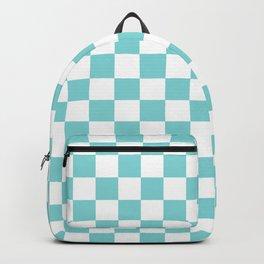 Gingham Duck Egg Blue Checked Pattern Backpack