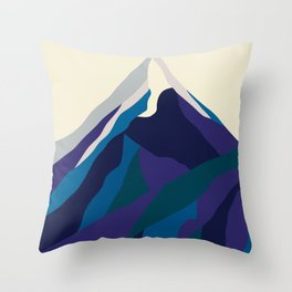 Mount Everest in Blue Throw Pillow