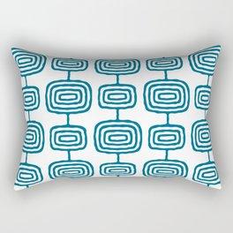 Mid Century Modern Atomic Rings Pattern Peacock Blue 3 Rectangular Pillow