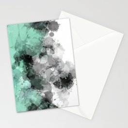 Mint Green Paint Splatter Abstract Stationery Cards