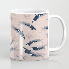 Orca in Motion / blush ocean pattern Coffee Mug