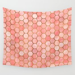 Coral and Gold Hexagonal Geometric Pattern Wall Tapestry
