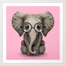 Cute Baby Elephant Calf with Reading Glasses on Pink Art Print