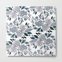 Abstract watercolor roses - neutral Metal Print