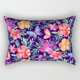 Summer Blooms & Butterflies on Dark Purple Rectangular Pillow