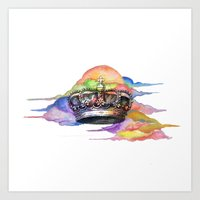 crown Art Prints featuring CROWN by MADEBYCHEJO