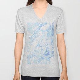 White Marble with Pastel Blue Purple Teal Glitter Unisex V-Neck