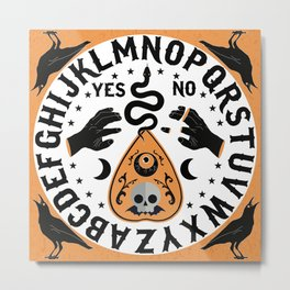 Orange And Black Modern Ouija Board With Ravens Metal Print
