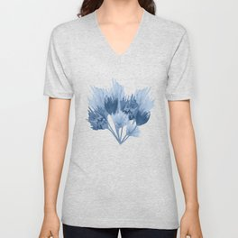 Indigo abstract watercolor flowers Unisex V-Neck