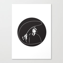 Mobster Suit Tie Casting Fly Rod Circle Retro Canvas Print