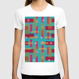 Red and Ocher Block City on Turquise T-shirt