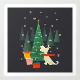 Little White Christmas Westie Art Print