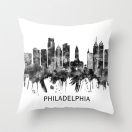 Philadelphia Pennsylvania Skyline BW Throw Pillow