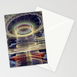 The Tower, Surrealistic mixed media art Stationery Cards