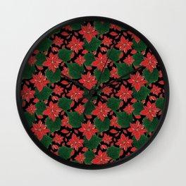 Poinsettia Party Wall Clock