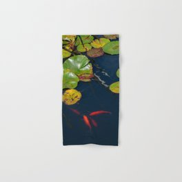Red Koi Fish in Lily Pad Pond Hand & Bath Towel