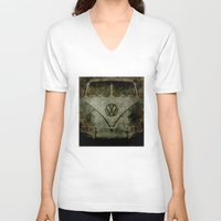 vw bus V-neck T-shirts featuring VW Zombiemobile - A killer Zombie bus by Bruce Stanfield