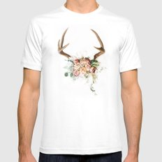 Floral Antlers V Mens Fitted Tee MEDIUM White