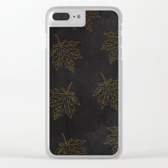 Autumn-world 3 - gold leaves on black chalkboard Clear iPhone Case