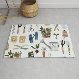 Gardening Tools and Plants Rug