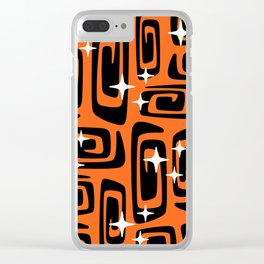 Mid Century Modern Cosmic Galaxies 435 Black and Orange Clear iPhone Case