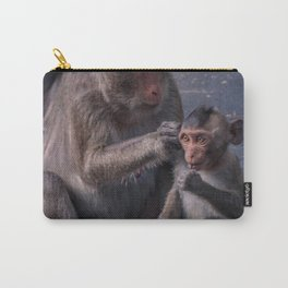 Mother and Baby Macaque Monkey Carry-All Pouch