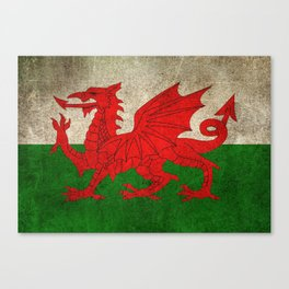 Old and Worn Distressed Vintage Flag of Wales Canvas Print