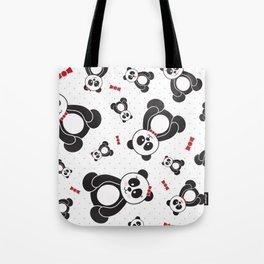 Panda Freefall (Black, White, Red) Tote Bag