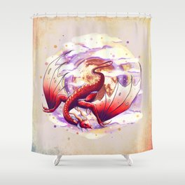 Red Moon Dragon  Shower Curtain