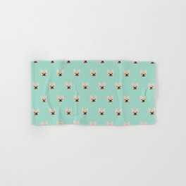 Fawn Frenchie Black Mask French Bulldog Print Pattern on Mint Green Background Hand & Bath Towel