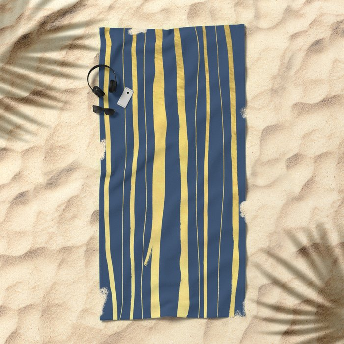 Vertical Living Navy and Gold Beach Towel