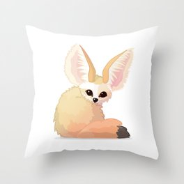 cute fennec foxes. Vector graphic character Throw Pillow