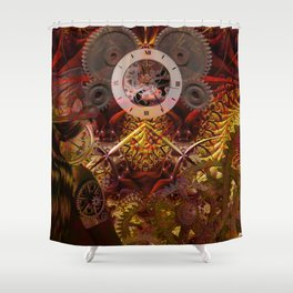 Steampunk internal clock Shower Curtain