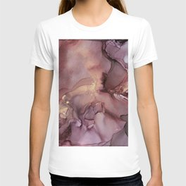 Ink Swirls Painting Lavender Plum Gold Flow T-shirt