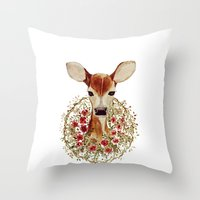 fawn Throw Pillows featuring Fawn  by craftberrybush