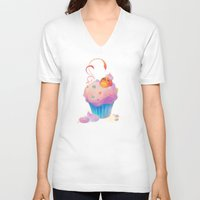 bath V-neck T-shirts featuring Cupcake bath by DanBee Kim