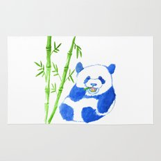 Panda eating bamboo Watercolor Print Rug